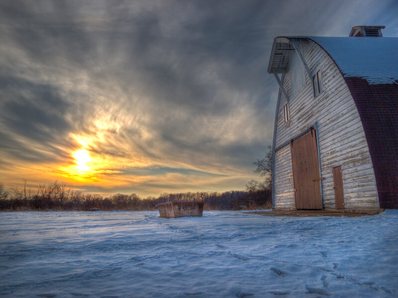 Faust Park Barn at Sunset
